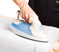Ironing close up of a woman her clothes Stock Photo