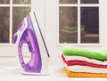 Ironing on home desktop Royalty Free Stock Photo