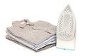 Ironing housework ironed folded shirts clean white background Royalty Free Stock Photo
