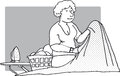 Ironing woman with a pile of Royalty Free Stock Image
