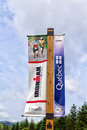 Ironman banner at mont tremblant with a cloudy sky in the background Royalty Free Stock Photography