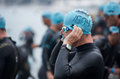 Ironman edition nice france june athletes wait for the starting of the on june in is the toughest discipline Stock Photography