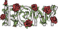 Irony sign with roses lettering print word background Royalty Free Stock Images