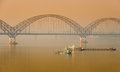 Irrawaddy bridge in sagaing myanmar yadanabon or at sunrise Stock Images