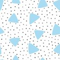 Irregular polka dot and triangles drawn by hand. Modern seamless pattern. Royalty Free Stock Photo