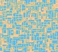 Irregular squares and rectangles pattern orange light blue overlaying Royalty Free Stock Photo