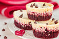 Irresistible red velvet mini cheesecakes horisontal composition Royalty Free Stock Photo