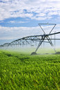 Irrigation equipment on farm field Stock Photo