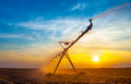 Irrigation pivot agricultural field summer sunrise Stock Images
