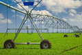 Irrigation system modern agricultural in a field Royalty Free Stock Images