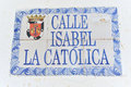 Isabel the catholic street santo domingo domican republic sign in Stock Photography