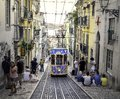Lisbon`s Most Photographed Street - Rua da Bica de Duarte Belo. Royalty Free Stock Photo
