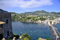 Ischia bay from the castle a view of and its amazing and blue aragonese Royalty Free Stock Photography