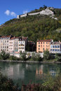 Isere river quay and Bastille Royalty Free Stock Images