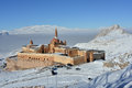 Ishak pasha palace morning view castle is situated against the white mountains background the is located in the dogubeyazit Stock Photo