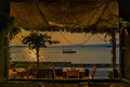 Isla de flores guatemala island central america dinner by the water sunset Stock Photos