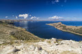 Isla del sol picturesque view of island on lake titicaca in bolivia Stock Images
