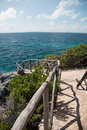 Isla mujeres island punta sur point also called acantilado del amanecer or cliff of the dawn looking across caribbean toward Stock Photography