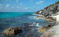 Isla mujeres island punta sur point also called acantilado del amanecer or cliff of the dawn looking across caribbean toward Royalty Free Stock Photo