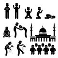 Islam muslim religion culture stick figure pictogr a set of people pictogram representing the people of praying and practicing Stock Photo