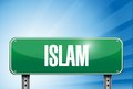 Islam religious road sign banner illustration design over a peaceful sky Royalty Free Stock Photo