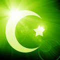 Islam sign glowing on a soft green background Stock Photo