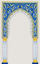 Islamic arch design in classic blue color