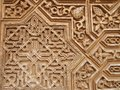 Islamic art at la alhambra plaster bas relief in in granada spain Royalty Free Stock Images