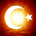 Islamic crescent moon Stock Photo