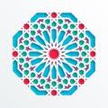 Islamic geometric pattern. Vector 3D muslim mosaic, persian motif. Elegant oriental ornament, traditional arabic art