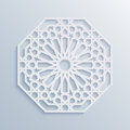 Islamic geometric pattern. Vector muslim mosaic, persian motif. Elegant white oriental ornament, traditional arabic art.