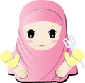 Islamic girl cooker the little isalam cook in pink dress Royalty Free Stock Photography