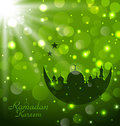 Islamic glow card for ramadan kareem illustration Royalty Free Stock Photo