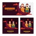 Islamic holy month of Ramadan Kareem Set of three social media post, banner header, greeting card ,wishes, etc