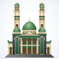 Islamic mosque building with green dome and two tower isolated on white background