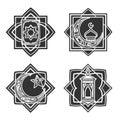 Islamic ornate emblem set