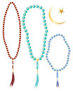 Islamic prayer beads an illustration of in different colors with crescent moon symbol isolated on a white background Stock Photos