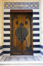 Islamic style door with marble wall in cairo egypt Stock Image