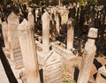 Islamic tombstones intricate writings on in the graveyard of a famous mosque sanliurfa turkey Stock Photos