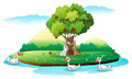 An island with animals illustration of on a white background Royalty Free Stock Image