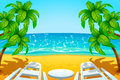 Island chair illustration of two chairs at the beach with palm trees Royalty Free Stock Images