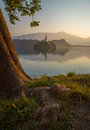 Island with Church in Bled Lake, Slovenia at Sunrise Royalty Free Stock Photo