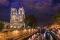 Island Cite with cathedral Notre Dame de Paris Royalty Free Stock Photo