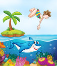 Island, corel, shark and girl diving Royalty Free Stock Image