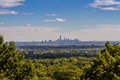 An island in the distance view on lower manhatten from looking like forests of new jersey Royalty Free Stock Images