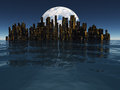 Island or floating city with planet or moon beyond visible Royalty Free Stock Photos