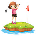 An island with a girl playing golf Royalty Free Stock Photo