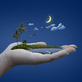 Island on the hand weather concept Stock Photography
