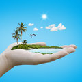 Island on the hand weather concept Stock Photos