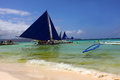 Island Hopping Sail Boat in Boracay Royalty Free Stock Photo